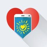 Mobiltelefon med hjärta Royaltyfria Bilder