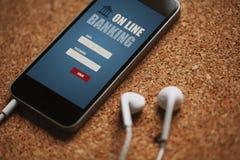 Mobiltelefon med mobil packa ihop app i skärm- och vithörlurarna Royaltyfria Foton