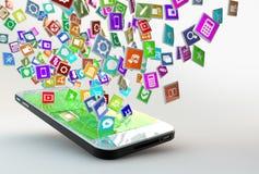 Mobiltelefon med molnet av applikationsymboler Arkivbilder