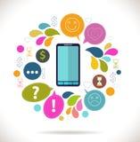 Mobiltelefon med symboler Royaltyfria Foton