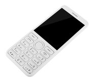 Mobiltelefon med tangentbordet som isoleras på vit bakgrund royaltyfri bild