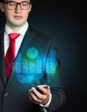 Mobiltelefon mit Diagrammschnittstelle Stockfoto