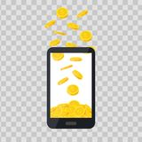 Mobiltelefon mit Goldmünzestapel auf transparentem Hintergrund Bargeldhaufen, fallende goldene Münzen kommerziell vektor abbildung