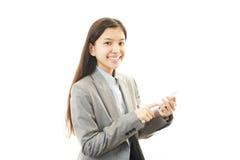 Mobiltelefon och affärskvinna. royaltyfri fotografi