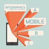 Mobiltelefon- och anförandebubblainfographics Arkivfoto