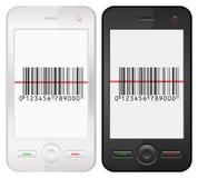 Mobiltelefon och barcode Arkivfoto