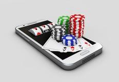 Mobiltelefon och chiper, online-kasinobegrepp illustration 3d Royaltyfri Fotografi