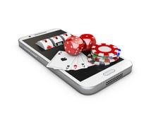 Mobiltelefon och enarmad bandit med lekkortet, tärning och chiper, online-kasinobegrepp illustration 3d Fotografering för Bildbyråer