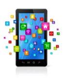 Mobiltelefon- och flygappssymboler Arkivfoton