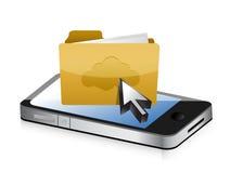 Mobiltelefon och mapp Arkivbild