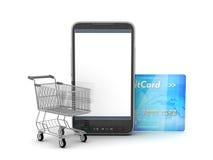 Mobiltelefon, shoppingvagn och kreditkort Arkivbilder