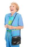 mobiltelefon som skrattar den höga kvinnan Arkivbild