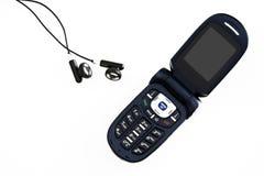 Mobiltelefon-und Hörmuschel-Kopfhörer Stockfotografie