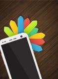 Mobiltelefon und Tablette mit bunten Aufklebern Stockbilder