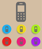 Mobiltelefon - vektorsymbol med färgvariationer Arkivbilder