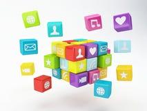 Mobiltelefonapp-symbol Programvarubegrepp Fotografering för Bildbyråer