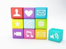 Mobiltelefonapp-symbol Programvarubegrepp Arkivbild