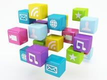 Mobiltelefonapp-symbol Programvarubegrepp Arkivfoto