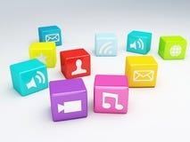 Mobiltelefonapp-symbol Programvarubegrepp Arkivfoton