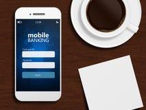 Mobiltelefonen med börsskärmen, rånar av kaffe Royaltyfria Foton