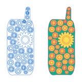 Mobiltelefonen som blommar - version två - fodra symbolen och med kulör fyllning Arkivbild
