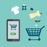 Mobiltelefonen som lagrar direktanslutet Online-shoppingvektorillustration Royaltyfri Fotografi
