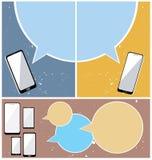 Mobiltelefoner med bubblaanförande Arkivfoton