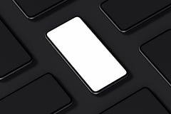 Mobiltelefoner med tomma skärmar på svart bakgrund framförande 3d stock illustrationer