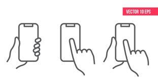 Mobiltelefonlinje symbol nHand som rymmer smartphonen royaltyfri illustrationer
