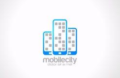 Mobiltelefonlogodesign. Mobil stadsaffär Co Royaltyfria Bilder