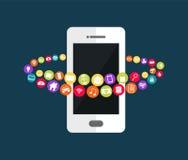 Mobiltelefonteknologi Abstrakt bakgrund för mobila applikationer stock illustrationer