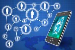 Mobiltelefonteknologiaffärsidé, idérikt nätverk royaltyfri bild