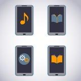 Mobiltelefonuppsättning. PekskärmSmart telefon med massmediaapplikationen (apps, musik, ebooks). royaltyfri illustrationer