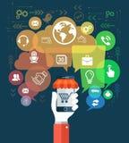 Mobiltelefonvektorillustration med socialt massmediabegrepp Arkivbild