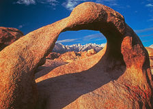 Mobius Arch in Alabama Hills. Alabama hills is a region in the Eastern Sierras with unusual granite formations Stock Images
