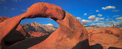 Mobius Arch in Alabama Hills. Alabama hills is a region in the Eastern Sierras with unusual granite formations Royalty Free Stock Image