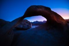 Mobius Arch Alabama Hills. Mobius Arch after Sunset Alabama Hills Lone Pine California USA Stock Image