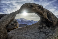 Mobius Arch and Mount Whitney. Mobius Arch Framing Mount Whitney in the Alabama Hills of California off Highway 395 stock photography