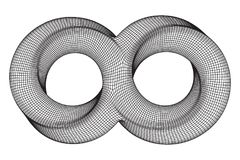Mobius strip ring infinity sacred geometry. Spatial figure with upturned surfaces. Optical illusion with dual circular contour. Wireframe low poly mesh vector Royalty Free Stock Images