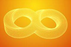 Mobius strip ring infinity sacred geometry. Spatial figure with upturned surfaces. Optical illusion with dual circular contour. Wireframe low poly mesh vector Stock Illustration