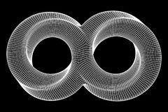 Mobius strip ring infinity sacred geometry. Spatial figure with upturned surfaces. Optical illusion with dual circular contour. Wireframe low poly mesh vector Royalty Free Illustration