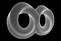 Mobius strip ring infinity sacred geometry. Spatial figure with upturned surfaces. Optical illusion with dual circular contour. Wireframe low poly mesh vector Royalty Free Stock Image