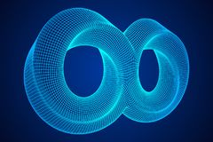Mobius strip ring infinity sacred geometry. Spatial figure with upturned surfaces. Optical illusion with dual circular contour. Wireframe low poly mesh vector Vector Illustration