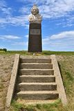 Memorial of Indian chieftain Sitting Bull. MOBRIDGE, SOUTH DAKOTA, JUNE 24, 2017: The burial site and monument of the Indian Chieftain, Sitting Bull is found on stock images