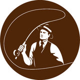 Mobster Gangster Fly Fisherman Circle Retro Stock Photography