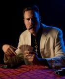 Mobster holding full house Stock Photo