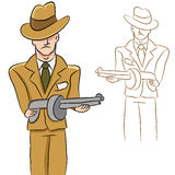 Mobster Man. An image of a mobster with a machine gun Stock Images