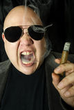 Mobster smoking a cigar Stock Images
