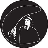 Mobster Suit Tie Casting Fly Rod Circle Retro Stock Photography