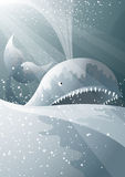 Moby dick. Scary whale surfacing in turbulent ocean Royalty Free Stock Image